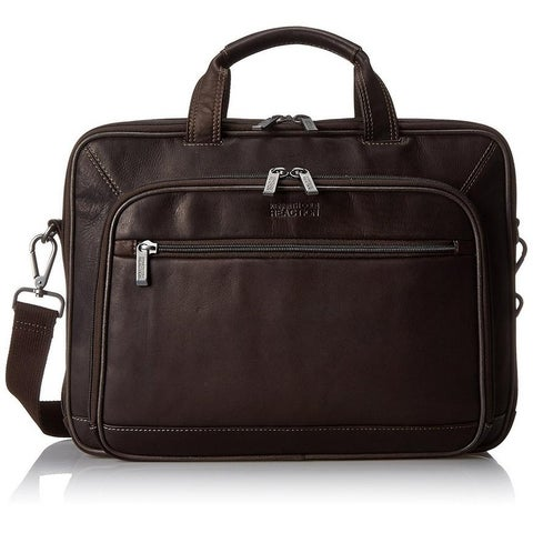 Kenneth Cole Reaction Colombian Leather Double Compartment Top Zip Checkpoint Friendly EZ-Scan 16in Computer Business Portfolio