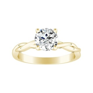 Auriya 14k Gold 1/2ct Twisted Round Brilliant Solitaire Moissanite Engagement Ring