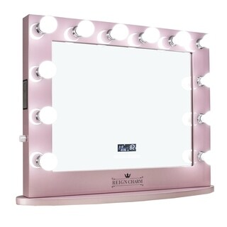 ReignCharm Hollywood Vanity Mirror with Bluetooth Speakers, 12 LED Lights, Dual Outlets & USB, 32-inches x 27-inches, Rose Gold