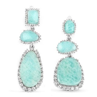 25.32 Carat Genuine Amazonite and White Topaz .925 Sterling Silver Earrings