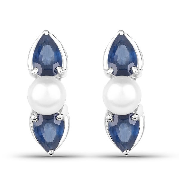 a7db608ef Shop 3.08 Carat Genuine Blue Sapphire and Pearl .925 Sterling Silver  Earrings - Free Shipping Today - Overstock - 22114246