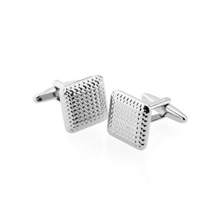Zodaca Men's Silver Square Houndstooth Pattern Polished Cufflink Cuff Links For Fathers Business Work Wedding