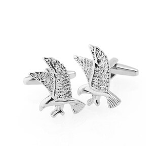 Zodaca Men's Silver Eagle Polished Cufflink Cuff Links For Fathers Business Work Wedding