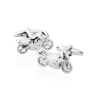 Zodaca Men's Silver Motorcycle Polished Cufflink Cuff Links For Fathers Business Work Wedding