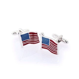 Zodaca Men's Red/Blue American Flag Polished Cufflink Cuff Links For Fathers Business Work Wedding