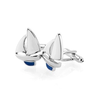 Zodaca Men's White/Blue Sailboat Cufflink Polished Cuff Links For Fathers Business Work Wedding