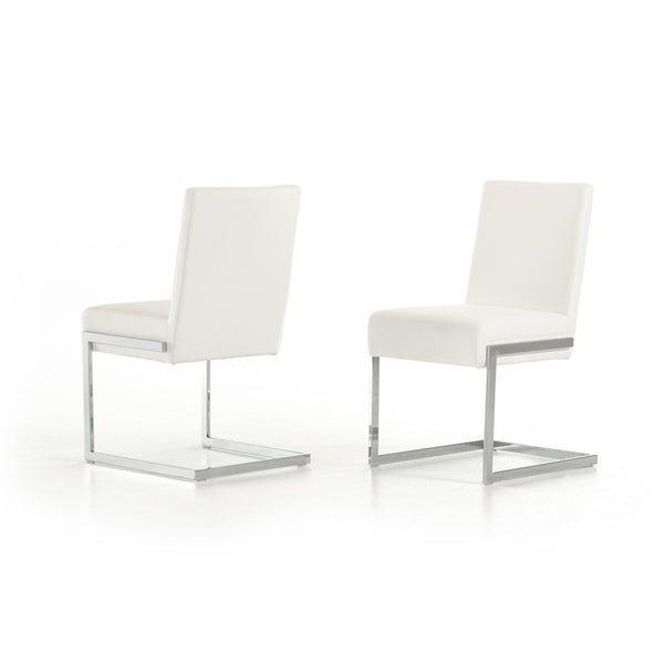 Batavia Modern White Leatherette Dining Chair Set Of 2