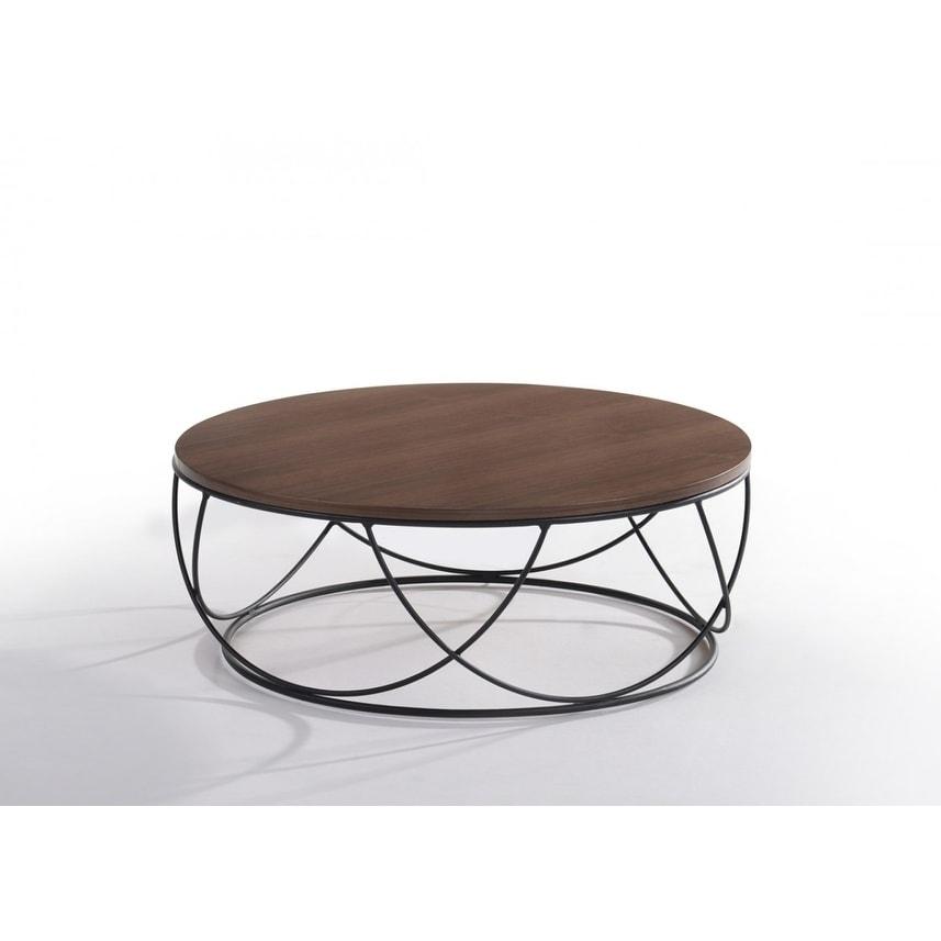 Modrest Strang Modern Walnut Black Round Coffee Table