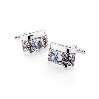 Zodaca Men's Silver Retro Zircon Polished Cufflink Cuff Links For Fathers Business Work Wedding