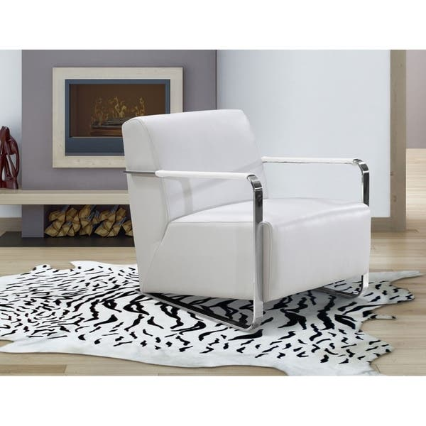 Shop Divani Casa Bison - Modern White Leather Lounge Chair ...