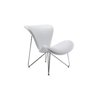 Modrest Decatur Mid-Century White Leatherette Accent Chair