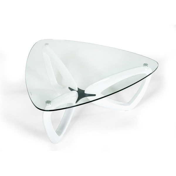 Modrest Upton Modern Square Glass Coffee Table Coffee: Shop Modrest Medina Contemporary Glass & White Coffee