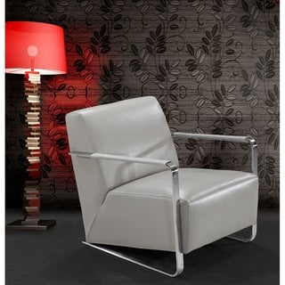Divani Casa Bison - Modern Grey Leather Lounge Chair