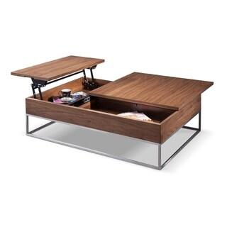 Lift-top Telson Modern Walnut Coffee Table w/ Storage