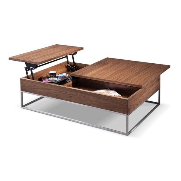 Lift Top Telson Modern Walnut Coffee Table W Storage