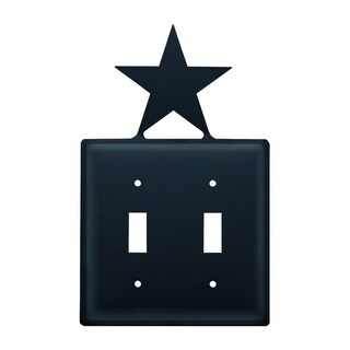 Village Wrought Iron Star Double Switch Cover - Black