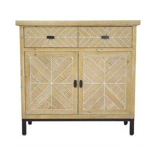 HomeRoots Kitchen Urban 2 Drawer 2 Door Parquet Sideboard - White Washed Parquet