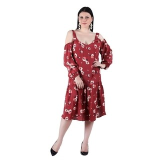 Qurvii Floral Printed Crepe Cold Shoulder Midi Dress.