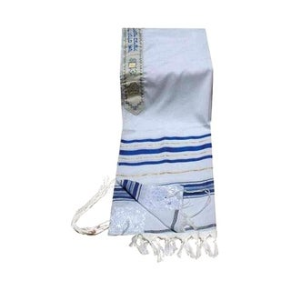 "Israel Largest Size Prayer Shawls Blue and Silver - 68""x47"""