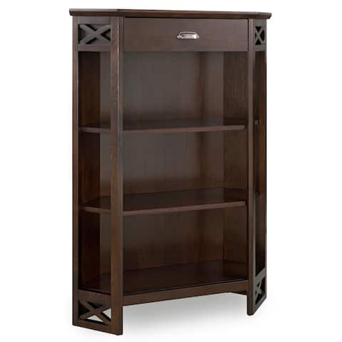 Chocolate Oak Mantel Height 3-Shelf Corner Bookcase with Drawer Storage by Leick Home