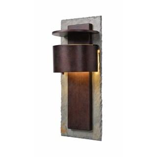"Design Craft Darius 19"" Dark Sky LED Wall Lantern - Slate and Copper"