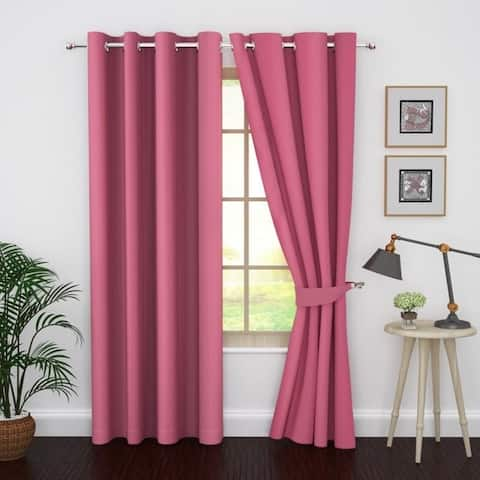 Ample Decor Thermal Insulated Grommet Blackout Curtain Panels-Set of 2