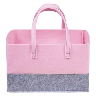 Ice Pink and Light Gray Felt Essential Storage Tote