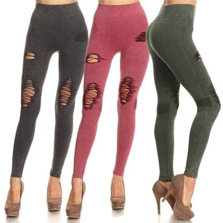 Lady's Distressed Vintage washed Leggings (More options available)