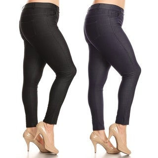 Women's Classic Solid Skinny Jeggings Plus Size