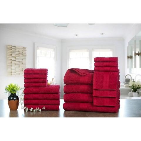 Ample Decor Ringspun Cotton Extra Absorbent Towels-18 Pcs Towel Set - 4 - Bath Towels 4 - Hand Towels 10 - Wash Cloths