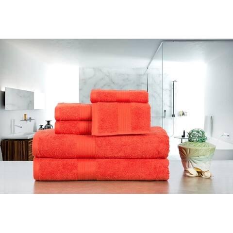 Ample Decor Premium Cotton 6 Pcs Towel Set 2 X Bath, Hand, Wash Towels