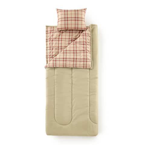 Micro Flannel® Carlton Plaid Tan Sleepover Solutions Sleeping Bag