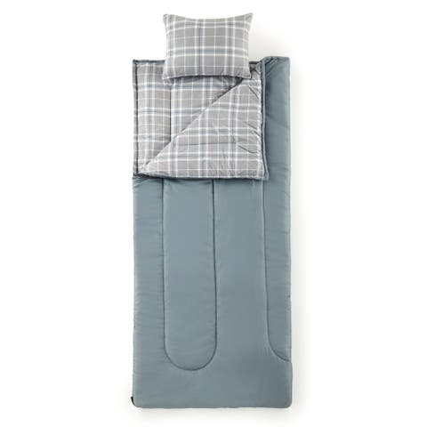 Micro Flannel® Carlton Plaid Gray Sleepover Solutions Sleeping Bag