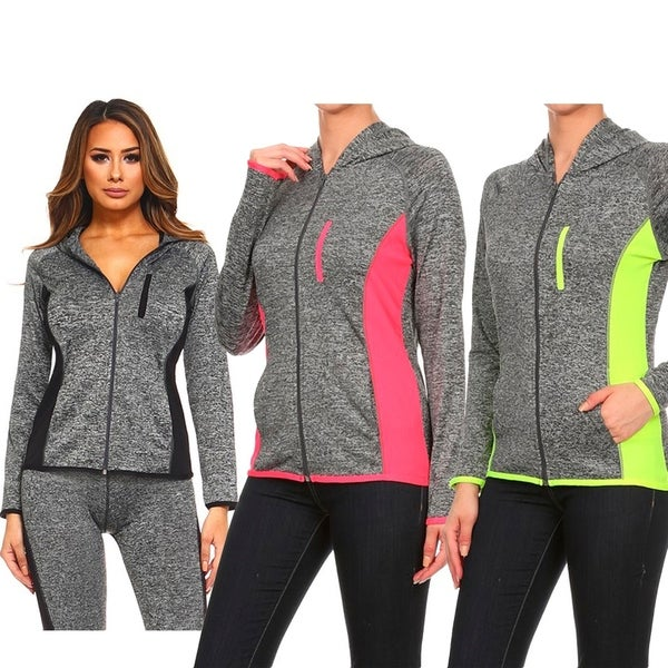 5b3dc5b5c Shop Women s active wear zip up jacket with hoodie - Free Shipping ...