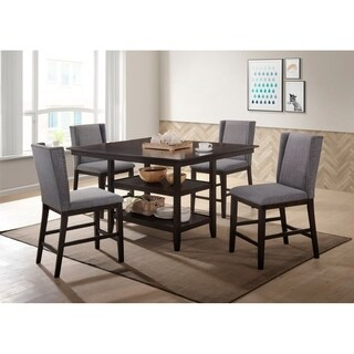 Home Source Elway 5 Piece Cappuccino Counter Height Dining Set with Storage Dining Table