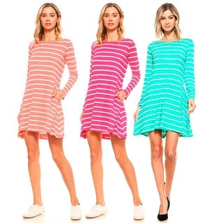 Long sleeve Stripe Dress With V-Drop on the back
