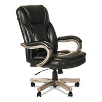 Alera Transitional Series Black Leather and Wood Executive Chair