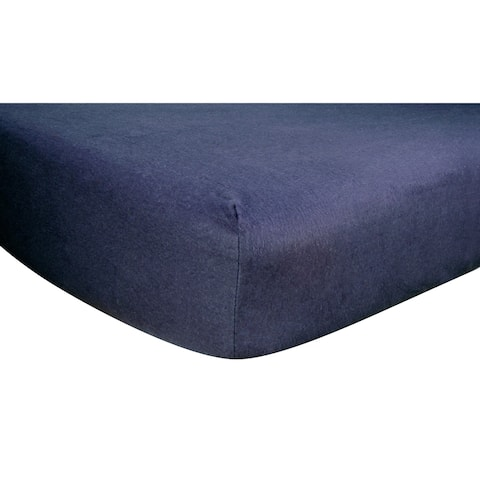 Navy Deluxe Flannel Fitted Crib Sheet