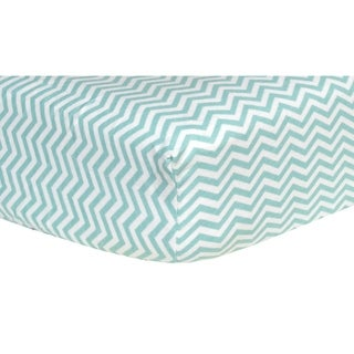 Mint Chevron Deluxe Flannel Fitted Crib Sheet