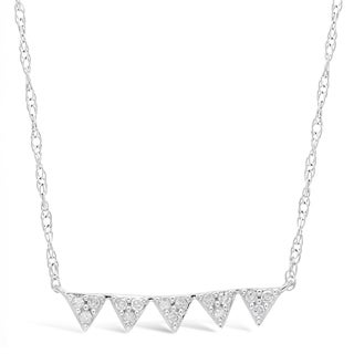 "Sterling Silver 5 Triangle Bar Pendant Necklace with 1/7 ct. TDW Diamonds on an 19"" Chain"