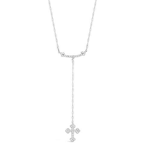 "Sterling Silver Dangling Cross Pendant Necklace with 1/5 ct. TDW Diamonds on an 19"" Chain"