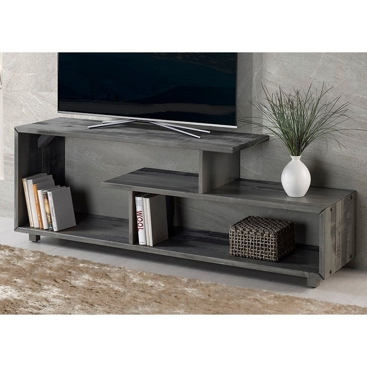 60 Solid Wood Asymmetrical Tv Stand Console 60 X 15 X 23h