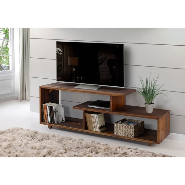 Shop 60 Solid Wood Asymmetrical Tv Stand Console 60 X 15 X 23h