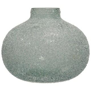 Translucent Crackle Glass Blue Round Wide Vase