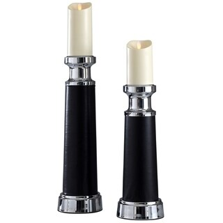 Chrome and Black Candleholder Set (Set of 2)