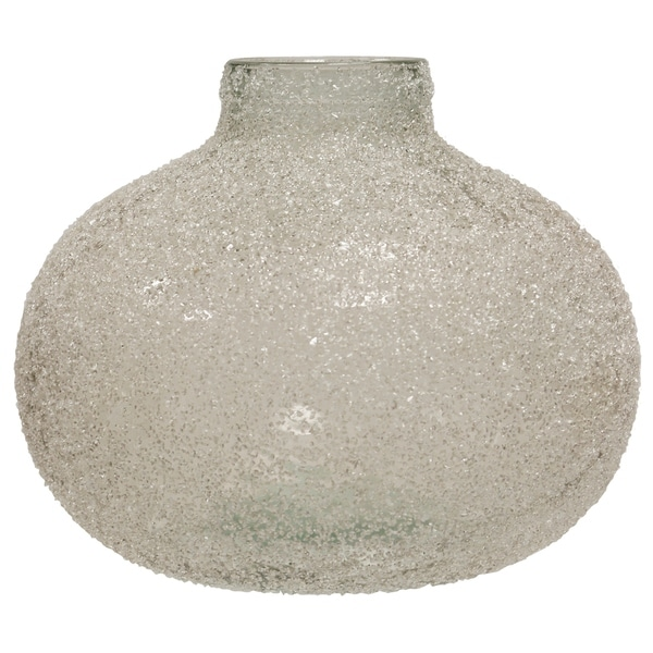 Translucent Crackle Glass Clear Round Wide Vase