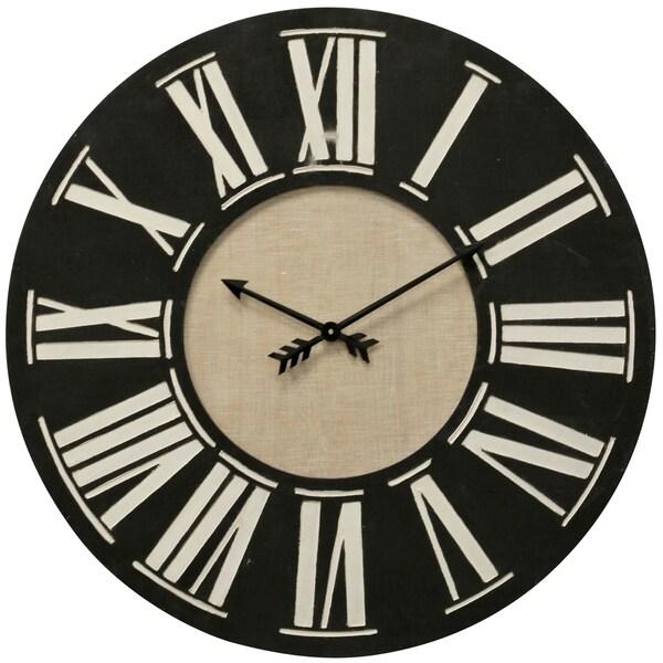 Roman Numerals Black and Beige Wood Clock