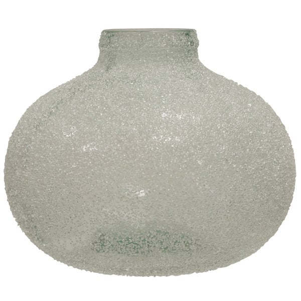 Translucent Crackle Glass Smoke Round Wide Vase