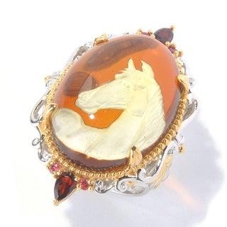 Michael Valitutti Palladium Silver Amber, Garnet & Orange Sapphire Horse Carved Ring