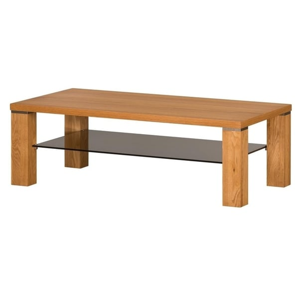 Torino Golden Oak Wood Gl Large Coffee Table